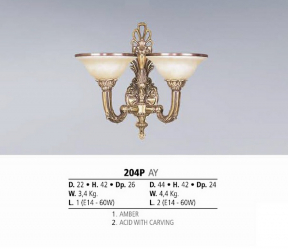 Riperlamp 204P 02.AM-AQ-AY-BG-BJ-BQ-CJ AMBER/ACID WITH CARVING