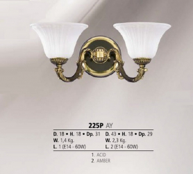 Riperlamp 225P 01.AA-AB-AE-AH-AM-AQ-AY-BG-BJ-BQ-CJ AMBER