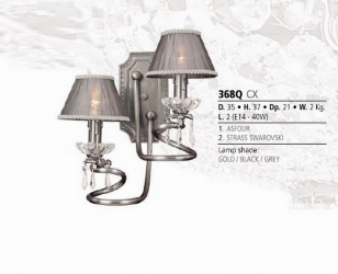 Riperlamp 368Q 02.AM-AQ-AY-BG-BJ-BQ-CJ NO CRYSTAL - NO SHADE