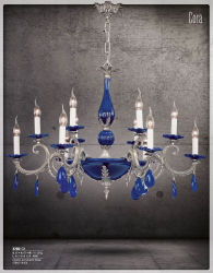 Riperlamp 370D 09.AA-AB-AE-AH-AM-AQ-AY-BG-BJ-BQ-CJ COBALT/BLACK CERAMIC AND DROPS